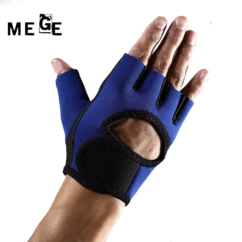 MEGE Brand Gym Gloves Rubber Anti-skid Men Training Exercise Weightlifting Gloves Half-finger Non-silp Wear Body Building Sports
