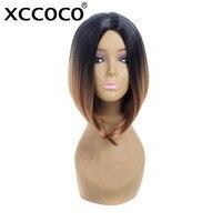 Xccoco peluca corta recta 12 pulgadas 160g mujeres afroamericanas extensiones de cabello sintético ombre Bob Pelucas