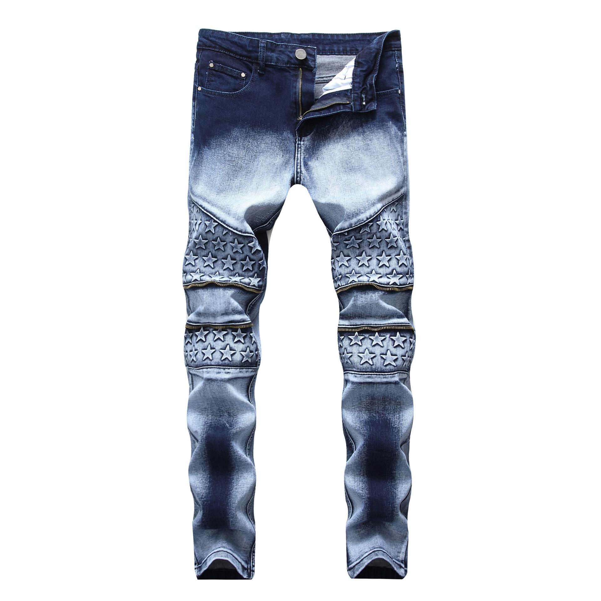 2018 jeans zipper stretch fashion double color mens slim straight jeans trousers