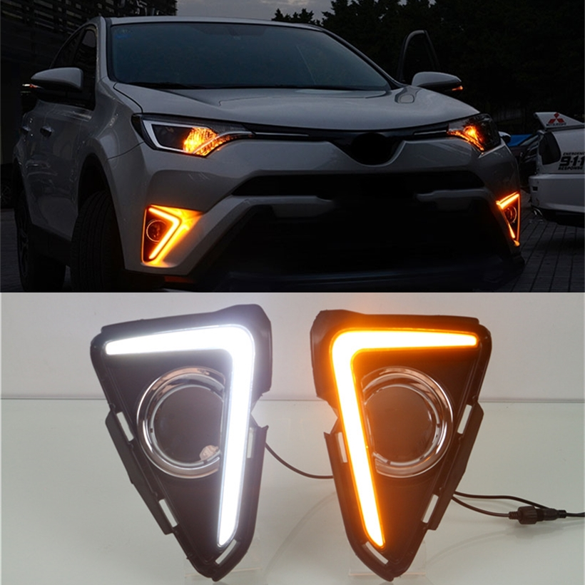 For Toyota RAV4 2016 2017 Yellow Turning Singal Waterproof ABS 12V Car DRL LED Daytime Running