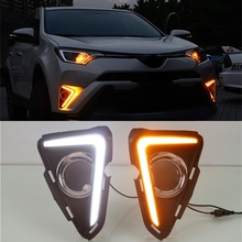 For Toyota RAV4 2016 2017,Yellow Turning Singal Waterproof ABS 12V Car DRL LED Daytime Running Light With Fog Lamp Hole free shipping new arrival led drl daytime running light fog lamp for car specific 2014 toyota rav4