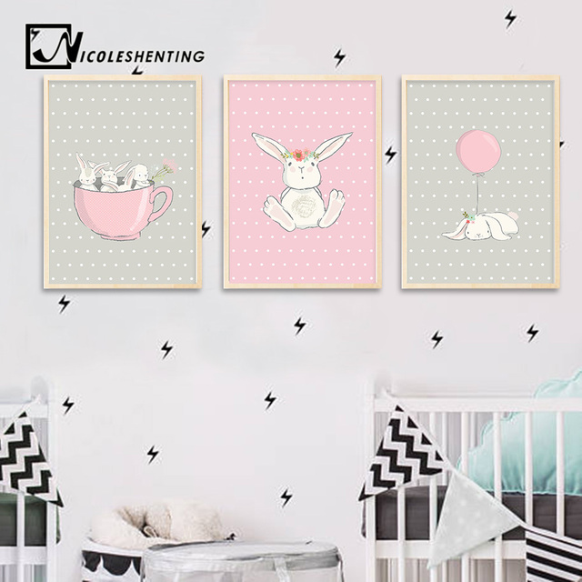 Cute Pink Rabbit Bunny Wall Art Canvas Posters Cartoon Animal Nursery Prints Nordic Painting Picture Baby