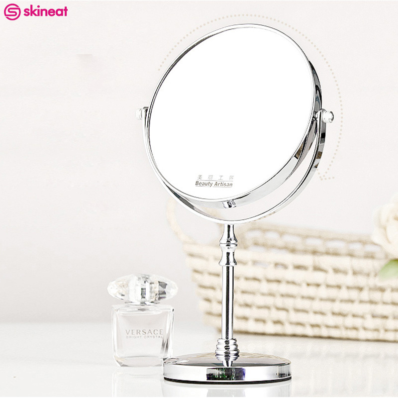 5 inch/6 inch HD Makeup Mirror Double-sided Design Magnification Maquiagem Circular Rotating Mirrors Desktop Stand Magnifier 6 inch 5x magnification cosmetic makeup mirror round shape 2sided rotating magnifier mirror led light makeup mirror for gift