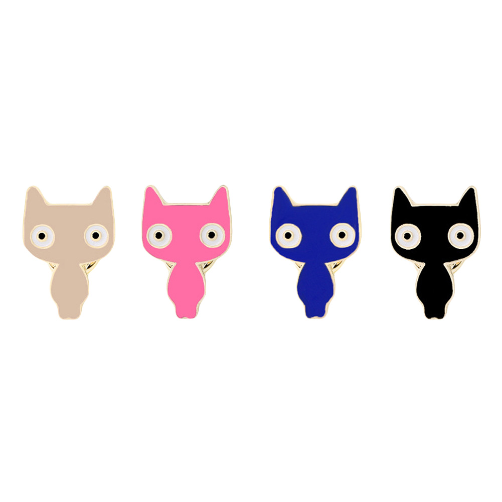 Cute Little Cat Brooches Pin Up Jewelry For Women Suit Hats Clips Corsages Brand Bijoux Brooch 4 colors