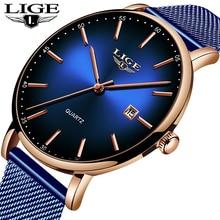 New LIGE Mens Watches Male Fashion Top Brand Luxury Slim Blue Quartz Watch Casual Waterproof Sport Reloj Hombre 2019
