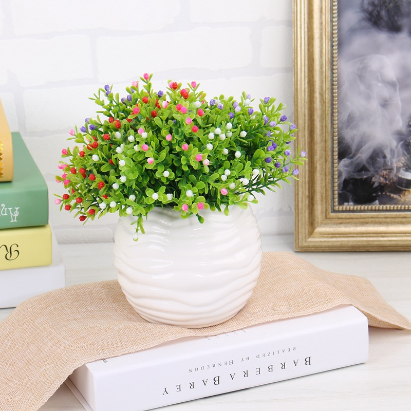 Milan Artificial Flower Bouquet Plastic Fake Flower With Vivid Grass For Home Wedding Decoration Party Garden Office Decor