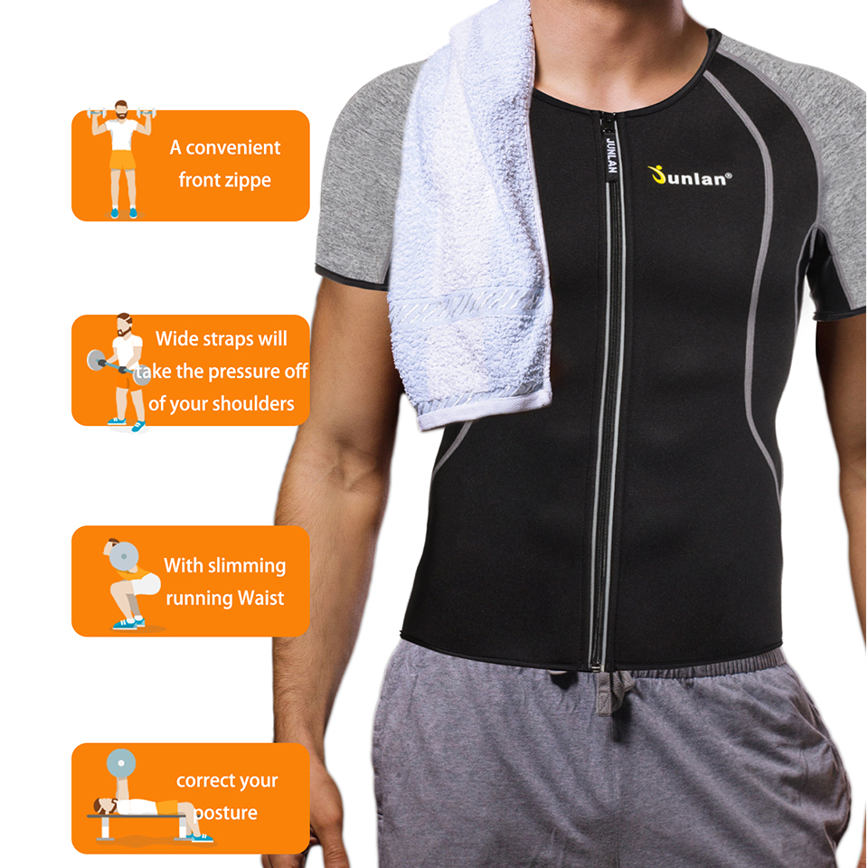 Junlan Body Shaper for Men Neoprene Slimming Shapewear Elastic Sauna Suit Male Waist Trainer T Shirt for Weight Loss Control
