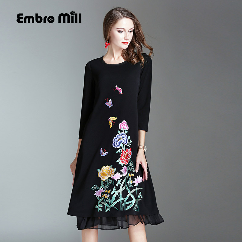 2017 Autumn dress Chinese style vintage royal embroidery plus size loose black dress fashion runway lady knitted dress M-4XL super moisturizing facial body replenishment nourish repair cream brightening whitening beauty salon 1000ml