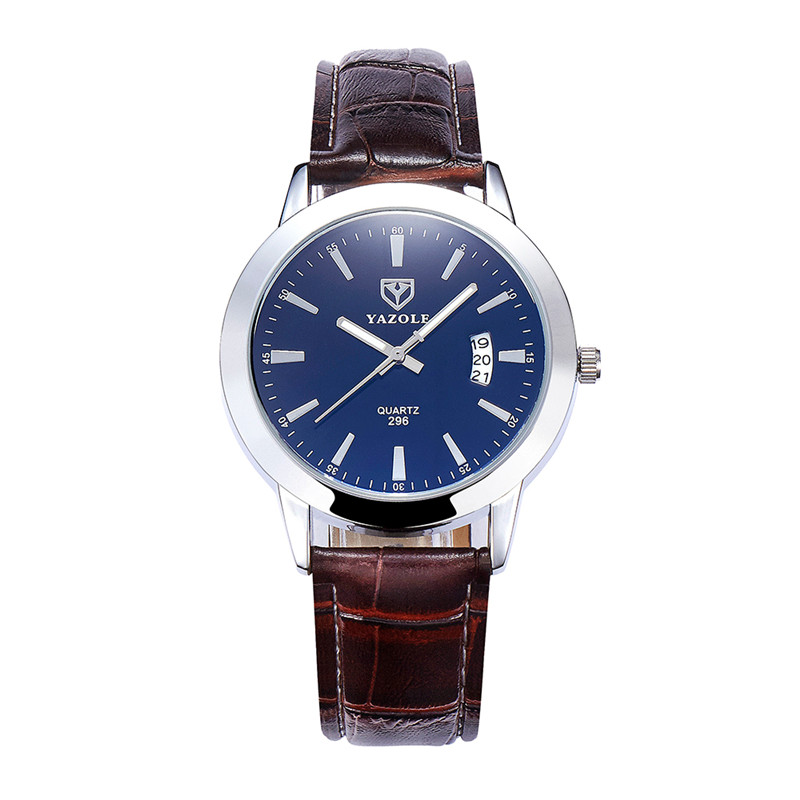 YAZOLE Fashion Lovers Watch Women Men Leather Wristwatches Round Dial Clock Waterproof Blue Glass Calendar Table Quartz Watches