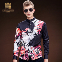FANZHUAN Featured Brands New Autumn Mens Casual Floral Shirts Long Sleeve Clothing Printed Men Dress Shirt