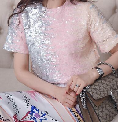 Women Sequin T-Shirt 2020 Hot Sale Summer Short Sleeves Tops Gradient Color Sequins Female Loose Tees T Shirt Pink 4