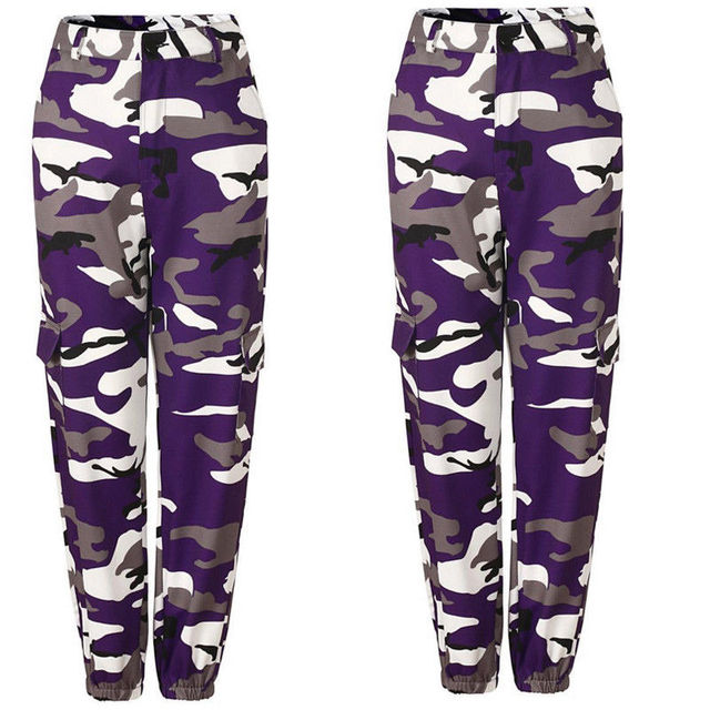 Fashion Womens Camo Cargo Trousers Casual Pants Military Army Combat Camouflage Jogger Pants  by Thefound