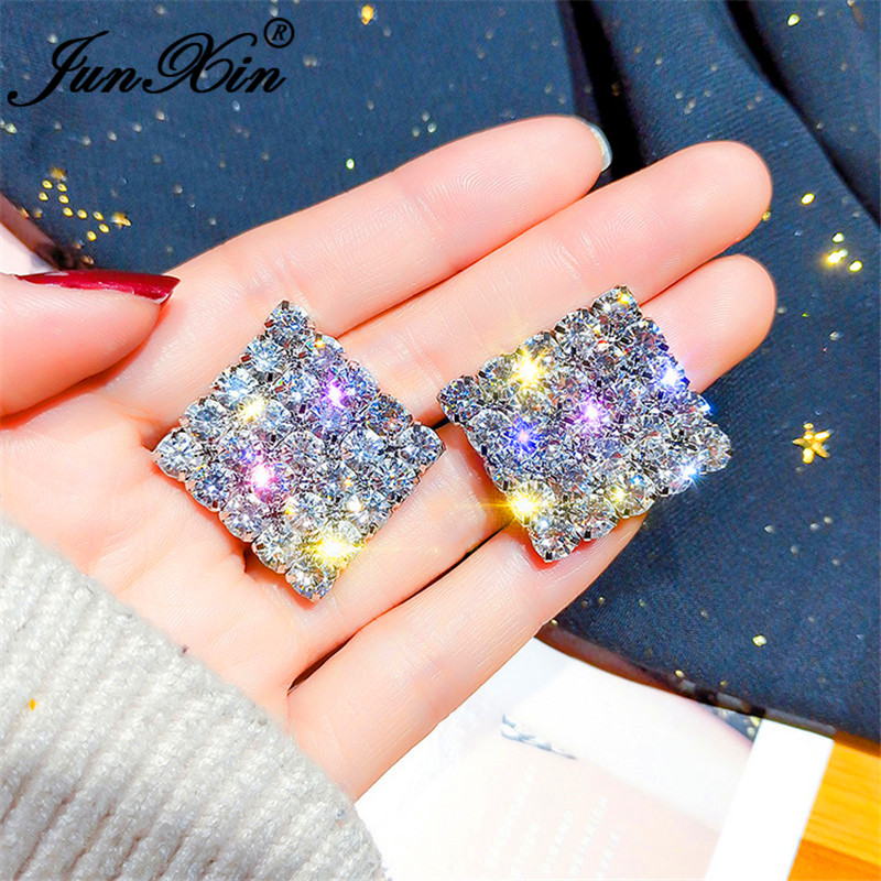 JUNXIN Cute Princess Square Earrings For Women White Gold Yellow Gold Filled White Crystal Zircon Stone Geometry Stud Earrings