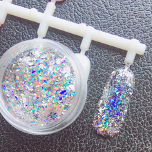 0.2g/box Laser Glitter Galaxy Holo Flake Rainbow Nail Art Sequins Holographic Flakies Powder Paillettes
