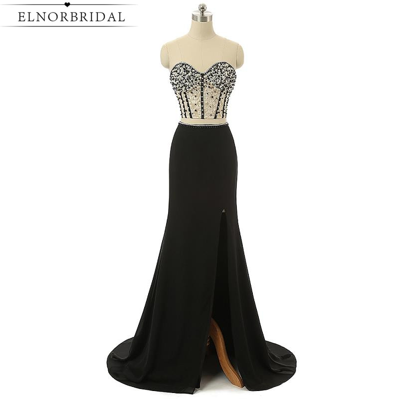 Black Two Piece Prom Dresses 2017 Long Sexy Brithday Party Dresses Robe De Soiree Longue Slit Mermaid Evening Dress For Women