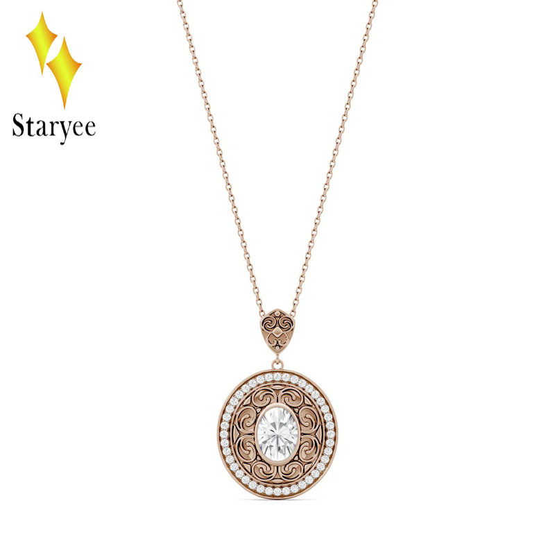 Genuine 18K Rose Gold Lovers Couple Diamond Wedding Engagement Band Moissanite Pendant Necklace For Women Fine Jewelry genuine 18k 750 rose gold 1ct hearts arrows test positive lab grown moissanite diamond engagement pendant necklace chain women