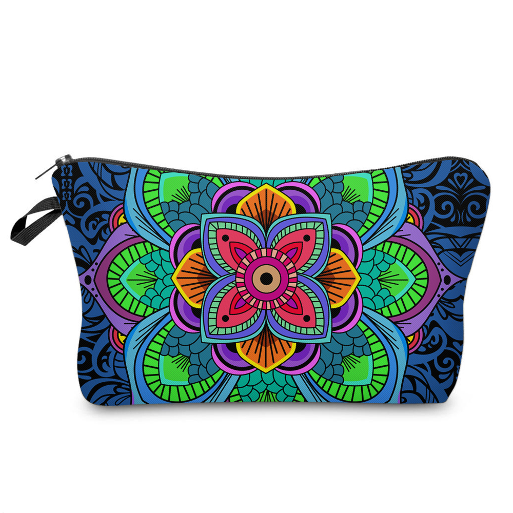 Blue Floral Cosmetic Toiletry Bag
