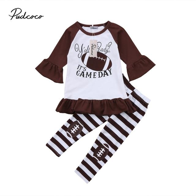4026412bd 2Pcs Newborn Toddler Kids Baby Girl Flare Long Sleeve Baseball Dress ...