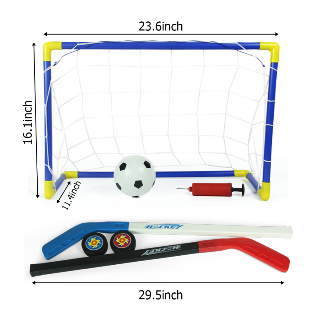 2-in-1-OutdoorIndoor-Kids-Sports-Soccer-Ice-Hockey-Goals-with-Balls-and-Pump-Practice-Scrimmage-Game-Football-Toy-Set-1