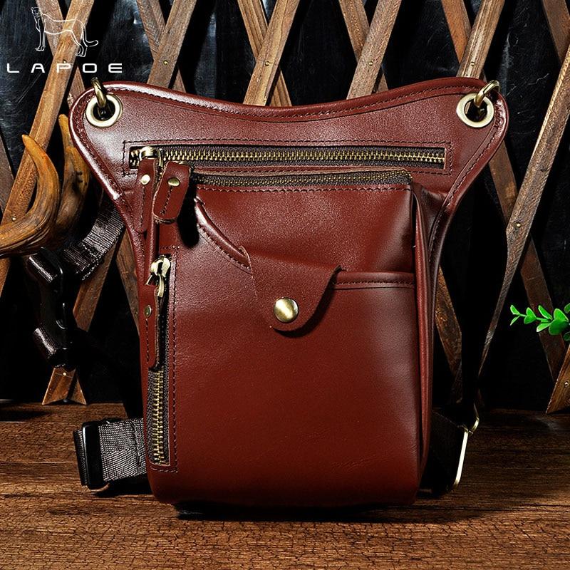 LAPOE 2018 Unisex Military Waist Pack Bag Genuine Leather Women Or Men Leg Hip Bags Belt Men Male Fanny Pack Multi-Purpose