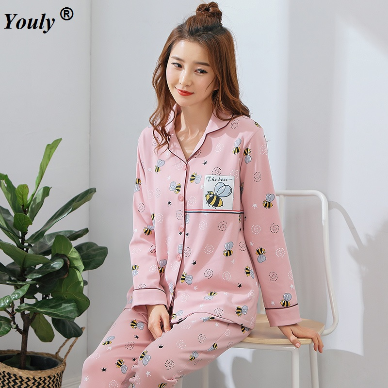 Women Winter Pajama Set Soft Printing pijama Home Pyjamas Woman Cotton Pyjama Set Sleepwear Plus Size Pajamas For Women homewear Пижама