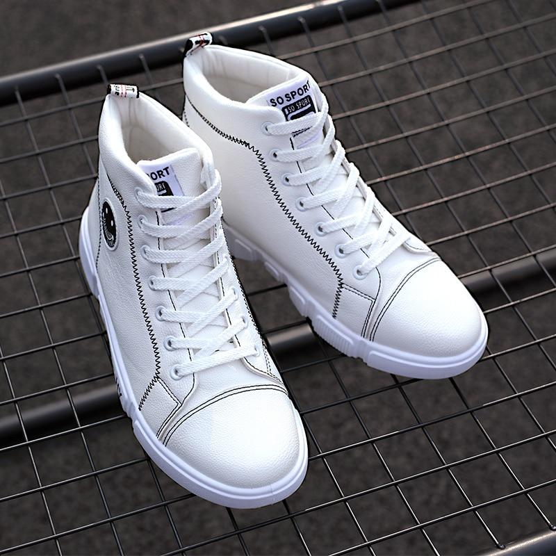 white Dos Lazer Moda Outono Masculino slip Alta Pu De Da Inverno resistente Homens Black top Sapato Ag402 Ao Sapatos Não Desgaste qSwpR1