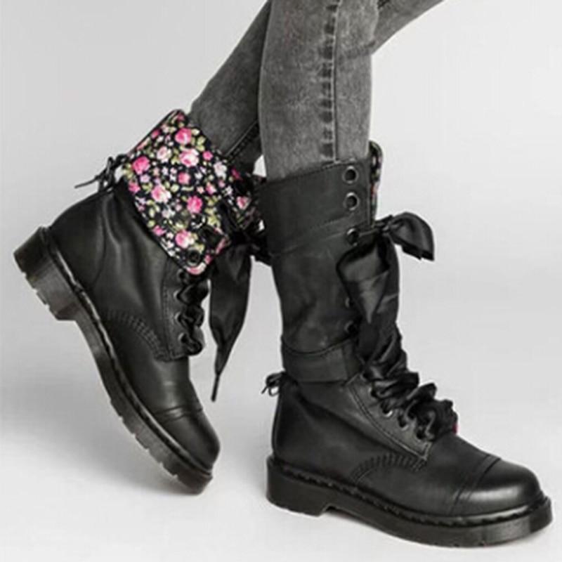 Vintage Floral Leather Boots  1