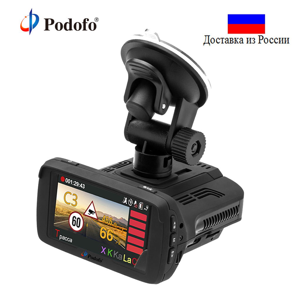 Podofo Ambarella Car DVR Radar Detector 3 in 1 with GPS Camera FHD 1080P Registrar Speedcam Anti Radar Detectors Dash Cam WDR