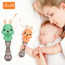 Tumama Baby Rattles Toys Silicone Music Sand Hammer Educational Flashing Mobiles For Newborns Kid Play