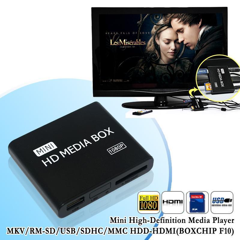 Nuovo mini hdmi media player 1080 p full hd tv video multimedia player box supporto mkv/RM-SD/usb/sdhc/mmc hdd-hdmi