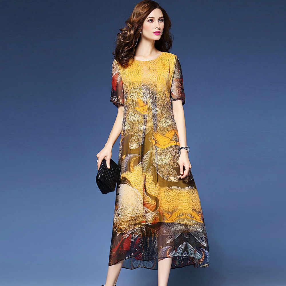 2019 плюс размер желтый китайский стиль кран живопись женские платья Фея Винтаж шелк o-образным вырезом до середины икры вечерние платья OKA136
