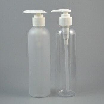 40pc/lot 250ml Clear/Frost Plastic Shampoo Bottle, Dispening Pump Cap,Empty Cream Container,Refillable Lotion Bottle,9oz PET Jar