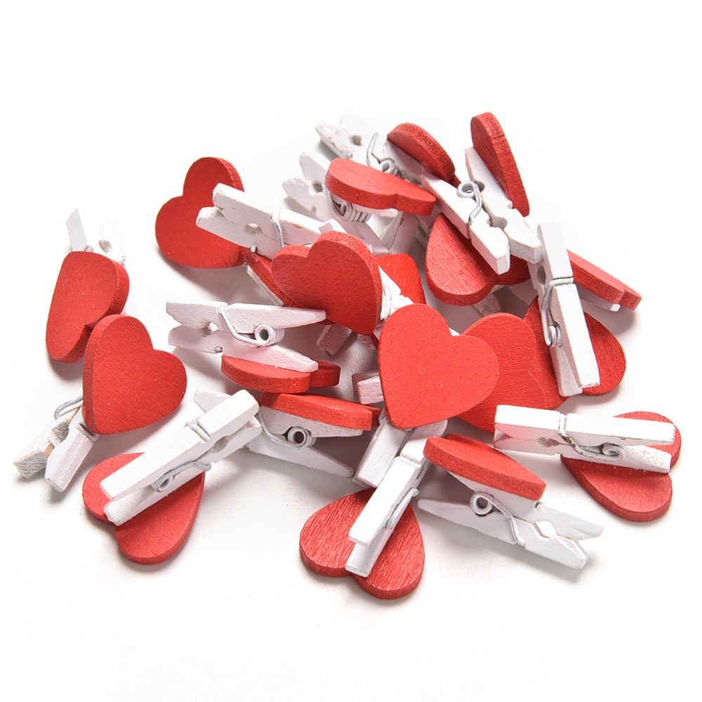 20Pcs/Pack Small Kawaii Heart Love Wooden Clothes Photo Paper Peg Pin Clothespin Craft Postcard Clips Home Wedding Decoration