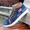 Vendimia Plataforma de Mezclilla Zapatos de Lona de Los Hombres 2016 de Los Hombres de Alta Superior Zapatos Ocasionales Respirables Skate Zapatos Hombre Calzado