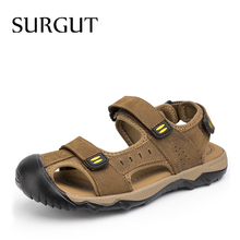 SURGUT New 2020 Hot Fashion Summer Casual Solid Men Sandals Breathable High Quality Genuine Leather Beach Shoes Big Size 38~48 cheap Cow Leather Basic Rome Rubber Hook Loop Low (1cm-3cm) Fits true to size take your normal size RA11601 Shallow Spring Summer
