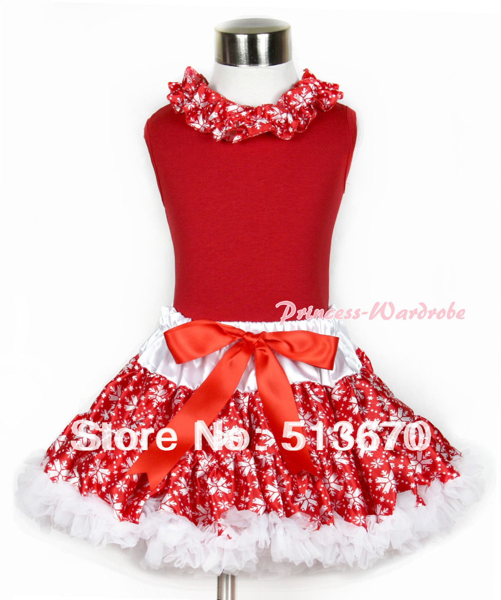 Xmas Red Tank Top With Red Snowflakes Satin Lacing With Red Snowflakes Pettiskirt MACM133 red black 8 layered pettiskirt red sparkle number ruffle red bow tank top mamg575