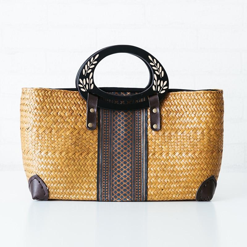 New Thai National style Sea Straw Woven Bag  Rattan Handbag Package Travel Holiday Bag  A4154