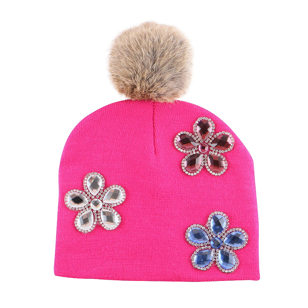 f5da23d76be boy girl baby fashion floral beanies crystal bling best winter hats with rabbit  pompom outdoor thermal 0 2 year kids gorros-in Hats   Caps from Mother ...