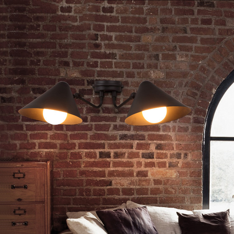 Double Head Loft Industrial Wind Retro Restaurant Wall Lamp Bedroom Bedside Lamp Bar Cafe Creative Iron Aisle Lamp Free Shipping cnc 5axis a aixs rotary axis t chuck type for cnc router cnc milling machine best quality