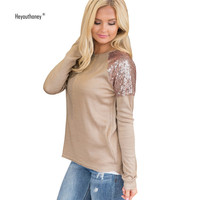Women Vintage Sequined Patchwork T Shirts Long Sleeve O Neck Casual Basic Plain T Shirt Lady