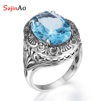 SzjinAo Flower Shape Aquamarine Rings 925 Sterling Silver March Birthstone Finger Ring Women Fashion Jewelry Womens Accessories