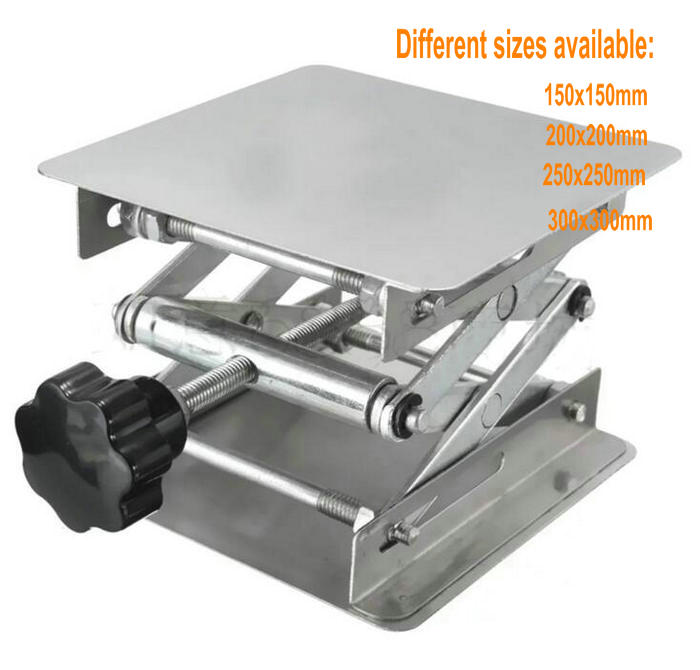 1pcs 150mm, 200mm, 250mm, 300mm Lab Jack Laboratory Support Jacks stainless steel Lifting Table Raising Platform