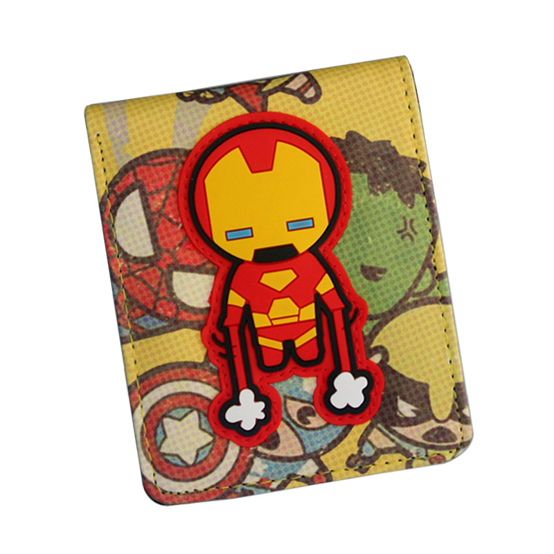 New Short Cute Anime Wallet The Avengers Superhero Wallet Bifold Card Bag Cartoon IRON MAN / HULK / BAT MAN Wallet For Students 2016 new arriving pu leather short wallet the price is right and grand theft auto new fashion anime cartoon purse cool billfold