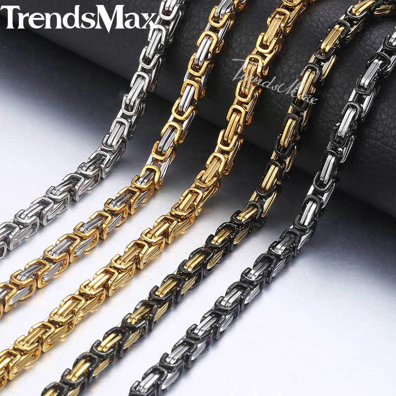 Trendsmax Byzantine Box Link Chain Necklace For Men Gold Silver Stainless Steel Long Necklaces Hip Hop Wholesale Jewelry KNN19 trendsmax ring for men 316l stainless steel gold silver color illuminati pyramid eye ring hip hop jewelry accessories hr365