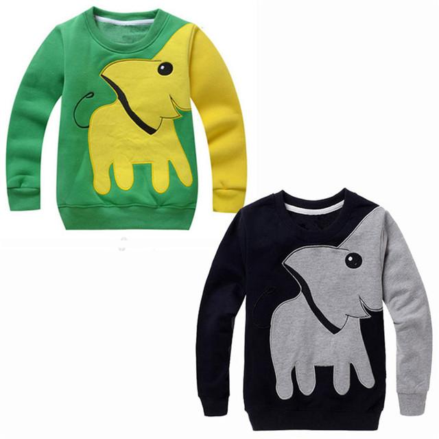 Preto & verde Unisex Bebés Meninas Meninos Inverno Sports Wear Camisetas, algodão Terry Elefante Dos Desenhos Animados Do Bebê de Manga Comprida Camisola de Inverno.