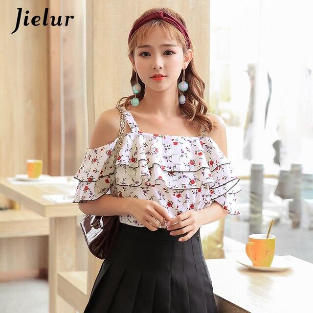 d243bad993 Jielur Sweet Ruffle Off Shoulder Tops Women Slash Neck Chiffon Shirt Korean  Style Flower Printed White