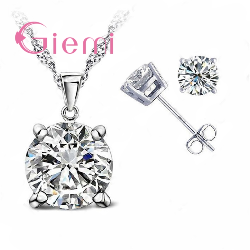 Pure 925 Sterling Silver Women Accessories Wholesale High Quality Jewelry Cubic Zirconia CZ 4 Claws Stud Earrings 8 Colors 1