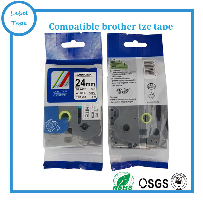 """2PK Black on White Label Tape Ribbons for Brother TZ-251 Tze-251 1/"""" 24mm P-touch"""