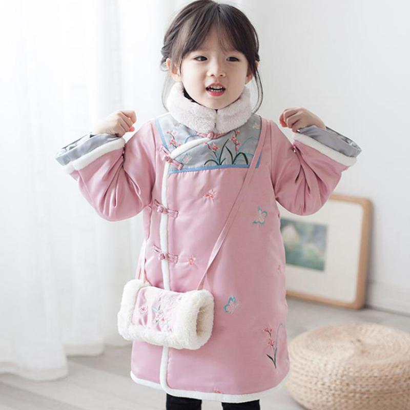 Chinese National Handmade Button Child Girl Cheongsam Winter Warm Kids Daily Dress Tang Clothes Children Long Sleeve Qipao