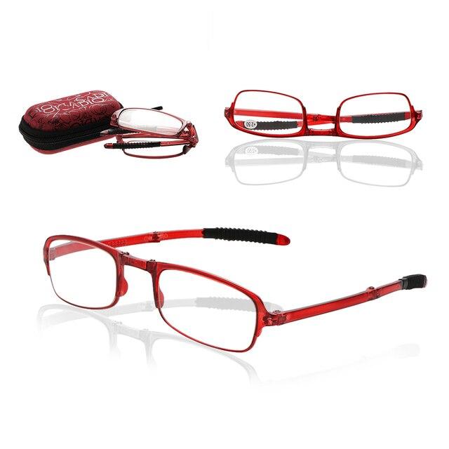 FoldableUltralight Plastic Frame VisionCare Reading Glasses Folding Eyeglasses Eyeglass With Case +1.0+1.5+2.0+2.5+3.0+3.5+4.0